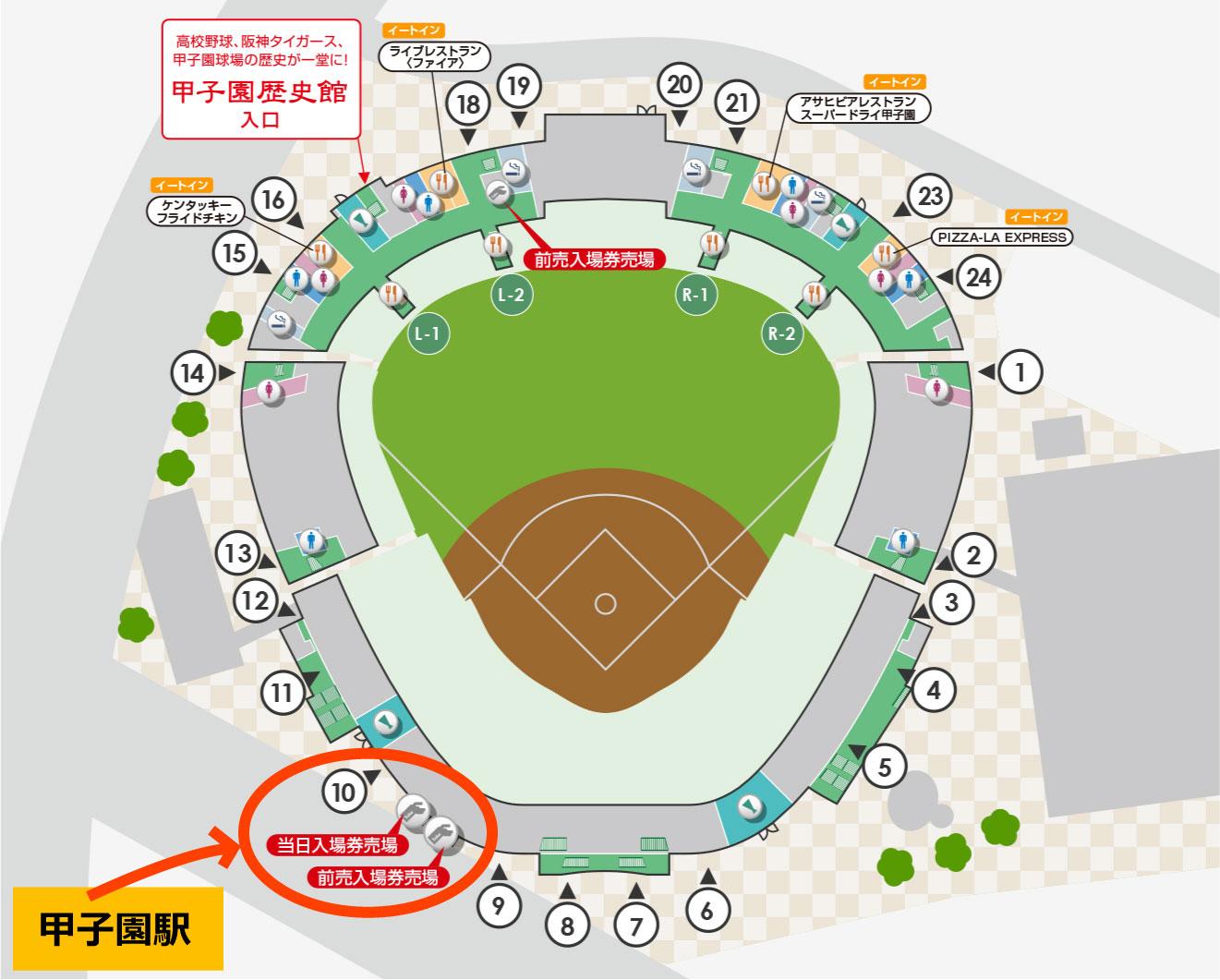 101回夏の高校野球2019当日券発売窓口マップ