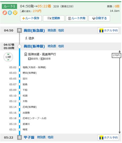 阪神梅田駅から阪神甲子園駅までの始発電車時刻表