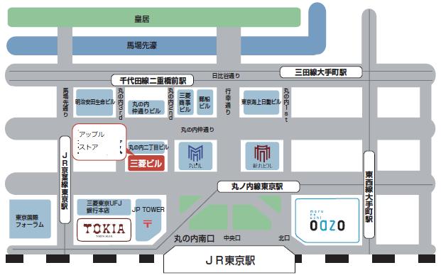東京駅前丸の内周辺ビルの配置