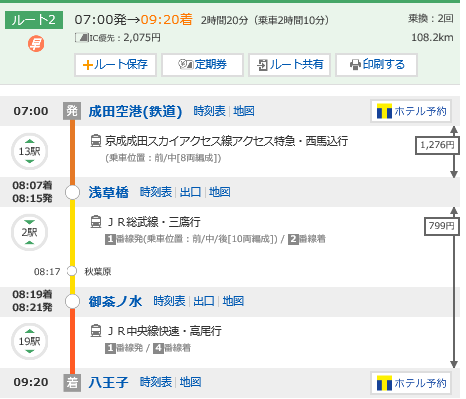 成田空港から八王子へのアクセス
