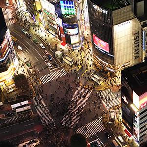 渋谷スクランブルスクエアの渋谷スカイからのスクランブル交差点を見る