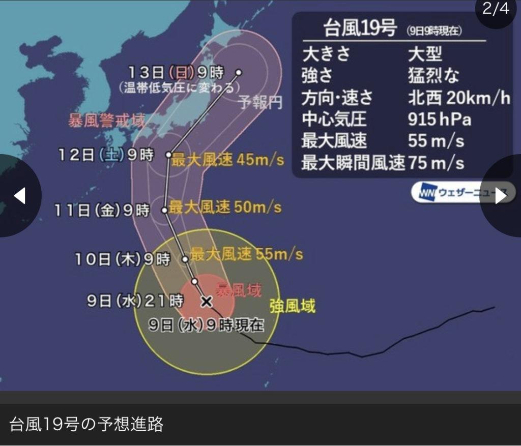 ハギビス台風19号九州のピークはいつ